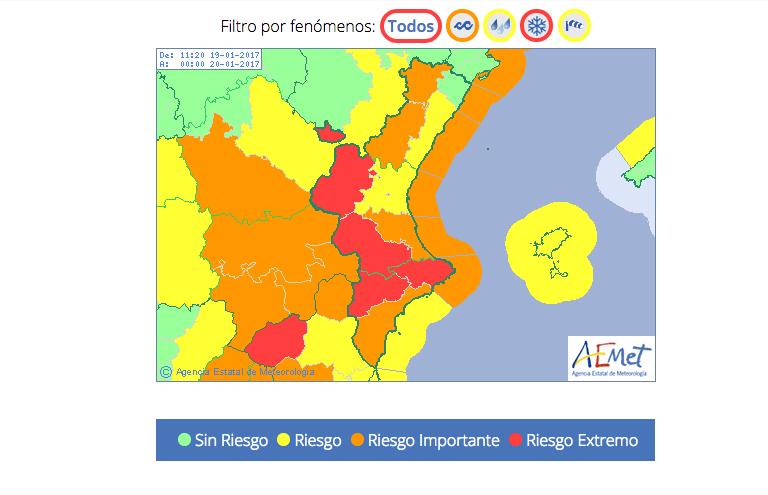 Detalle de la Alerta Roja y naranja en que se encuentra la Comunitat. Fuente: Agencia Estatal de Meteorología (AEMT)