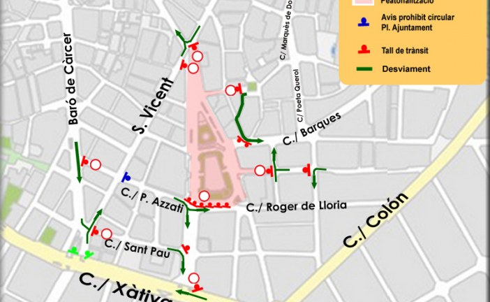 TRÁFICO  Estas son las calles cortadas en València durante este fin de semana