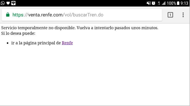 Mensaje de la web de Renfe. Foto: FACUA