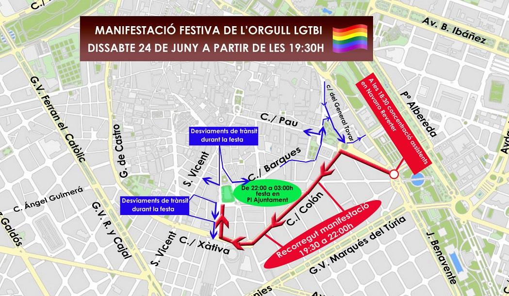 TRÁFICO  Estas son las calles cortadas con motivo de la Manifestación LGTBI