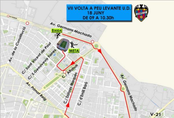 TRÁFICO  Estas son las calles cortadas en València este domingo por la Volta a Peu Levante UD