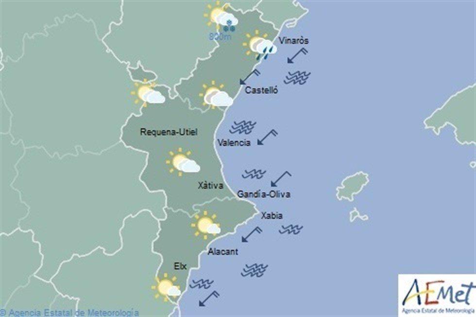 El cielo se irá nublando a lo largo del día y puede llover en la mitad norte de Castellón