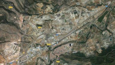 Zona del accidente en la A-35 en Moixent